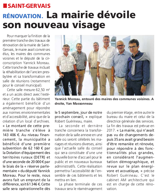 Article du Courrier Vendée du 1er septembre 2016.