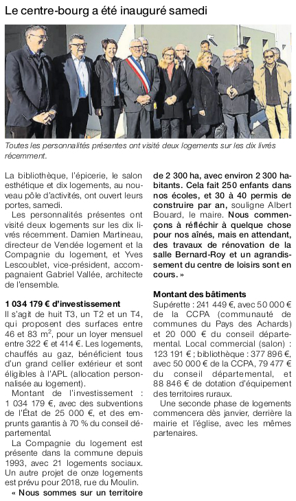 Article Ouest-France du 3 novembre 2016