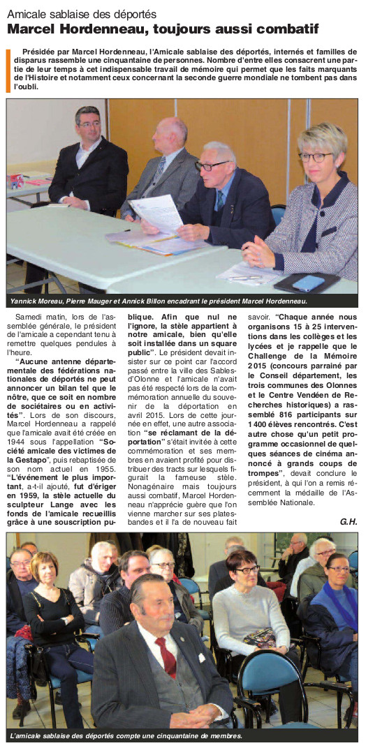 Article du Journal des Sables du 17 mars 2016