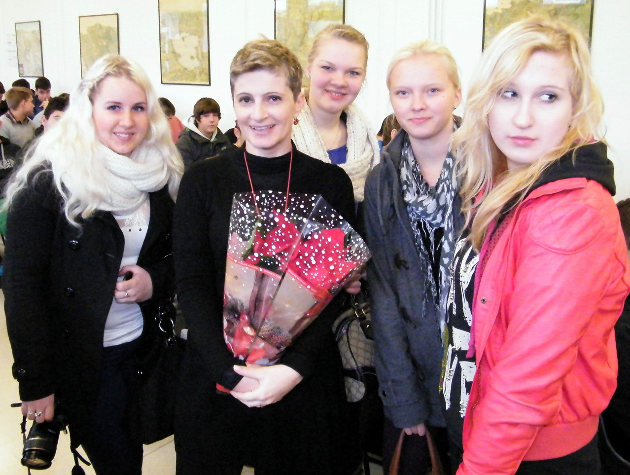 Le studentesse finlandesi Janina, Ruut, Oona e Tanya con la prof.ssa Mazzoni