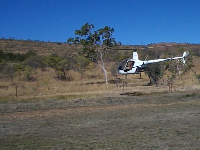 Bob's first chopper-landing on Kachana