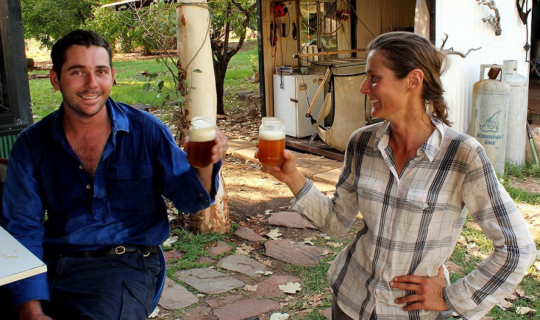 After a three-day walk from El Questro, Bec and Bob quench their thirst with 'Kachana Gold'