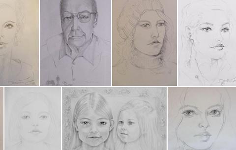 eine Auswahl an Portrait Zeichnungen
