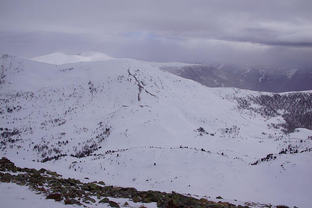 Blick vom Pfannnock nach Südosten hin zum Mallnock, rechts ist die Brunnachhöhe, das letzte Ziel zu erkennen.
