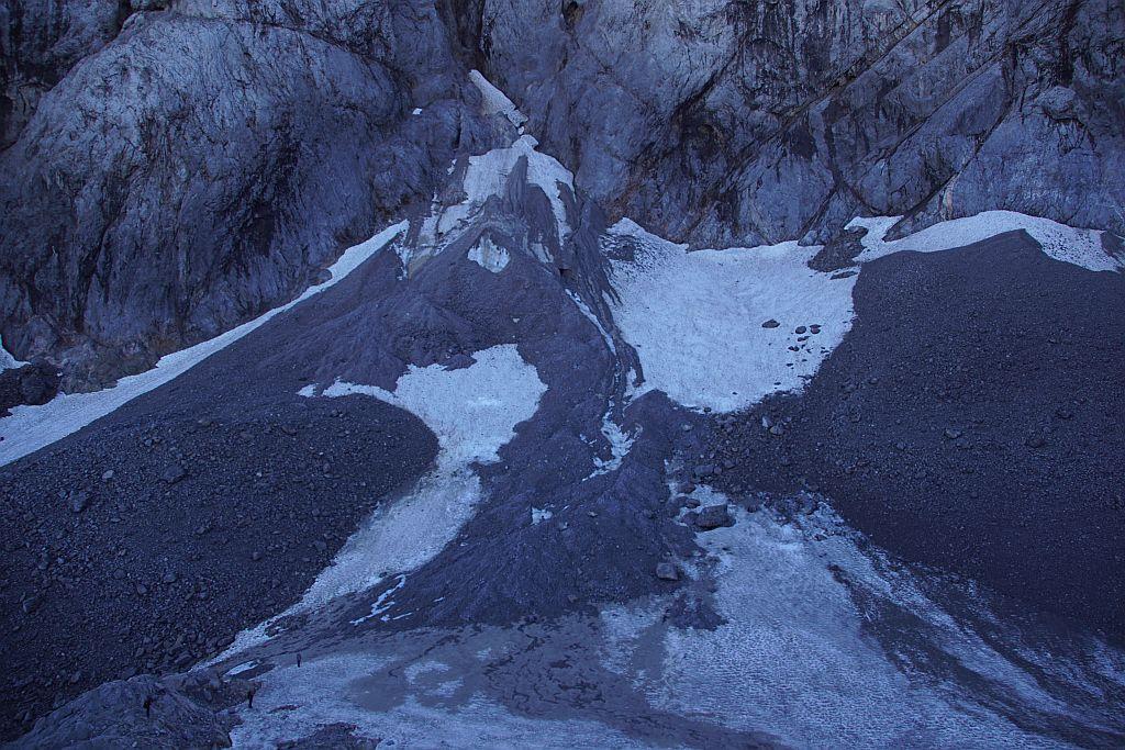 Der höchste Punkt des Gletschers, im September 2020 liegt vom Winter 2019/20 noch etwas Schnee