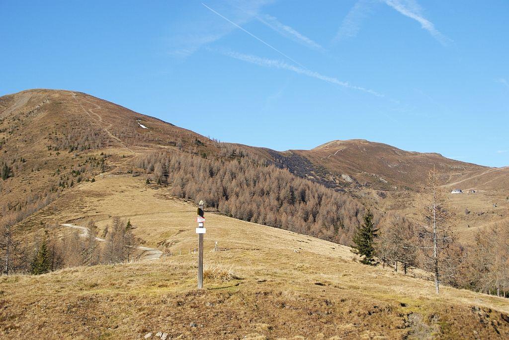 Der Ausftieg verläuft links am breiten Rücken, rechts im Bild der Hauptgipfel und die Walderhütte