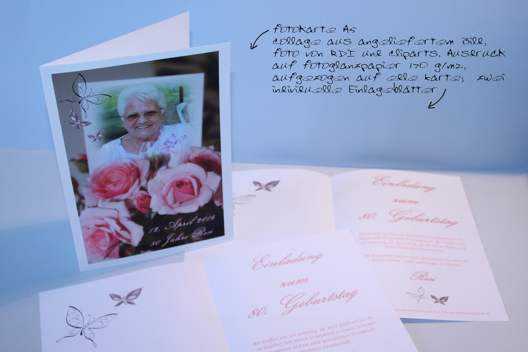 Referenz-Auftrag Resi: Einladung zum 80. Geburtstag, 2 Feste an 2 Orten ...