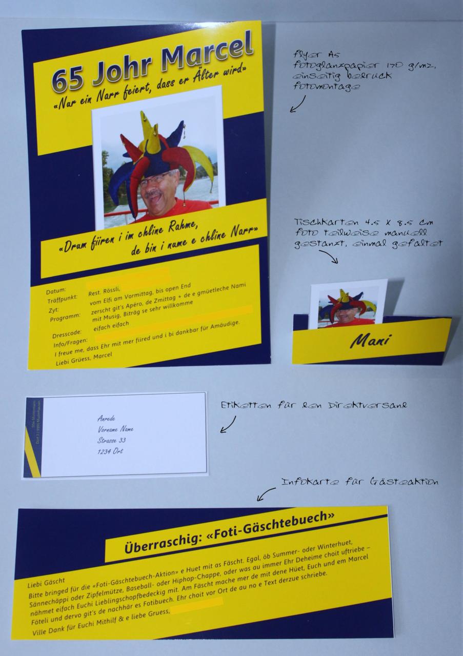 Referenz-Auftrag Marcel: Einladung zum 65. Geburtstag