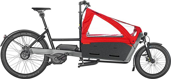 Riese & Müller Packster 60 Vario / Packster 60 Vario HS 2020 - urban grey mit Kindersitz und Kinderverdeck