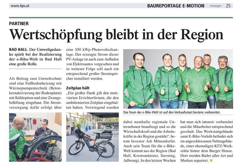 regionaler umweltfreundlicher Bau der e-motion e-Bike Welt Bad Hall