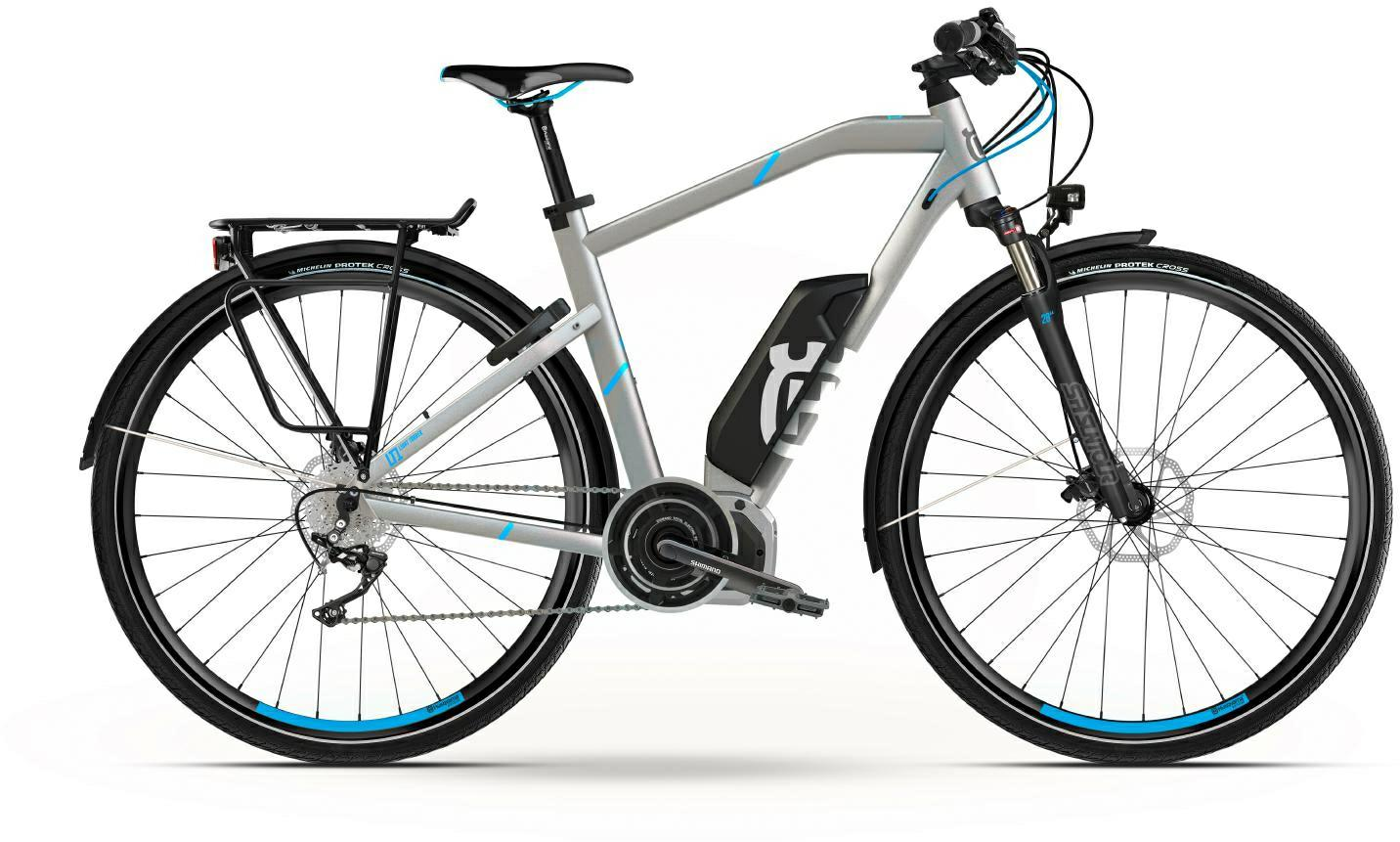Husqvarna Light Tourer LT1 Trekking e-Bike, Touren Pedelec 2018 silber/cyan Diamantrahmen