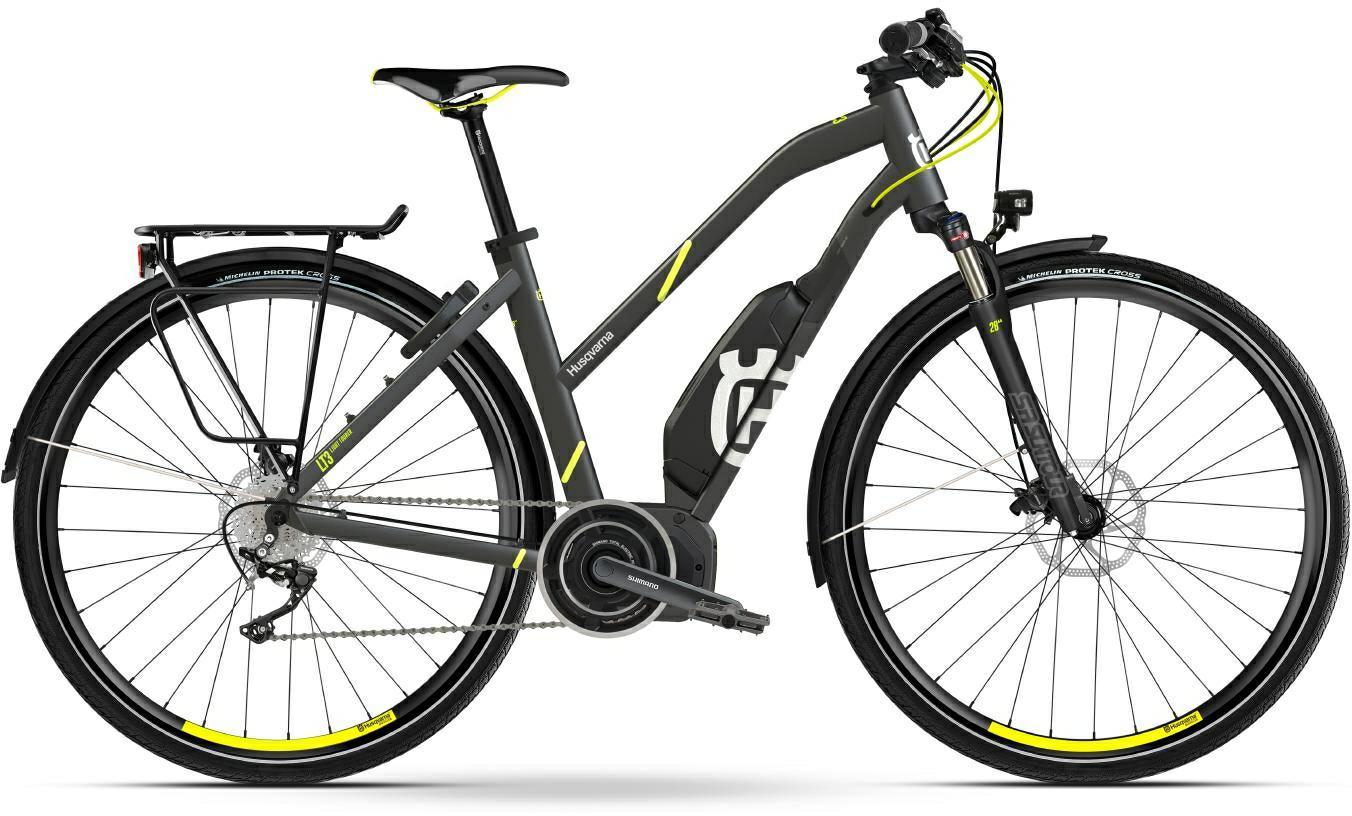 Husqvarna Light Tourer LT3 Trekking e-Bike, Touren Pedelec 2018 grau/gelb Trapezrahmen