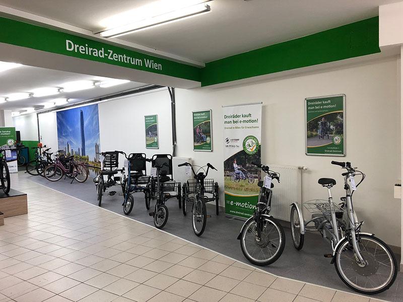 Dreiräder in der e-motion e-Bike Welt in Wien - Österreich