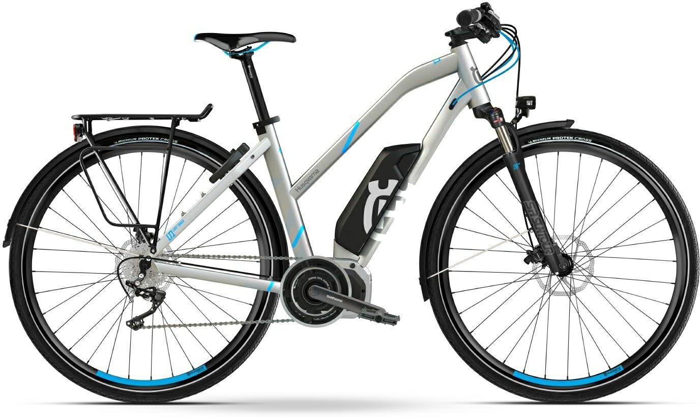 Husqvarna Light Tourer LT1 Trekking e-Bike, Touren Pedelec 2018 silber/cyan Trapezrahmen