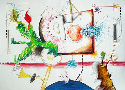 Katrin Leitner, Zeichnung, Buntstift, Fasermaler auf Papier
