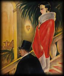"""Grafik Elegantes Paar am Abend zu """"In der Bar zum Krokodil"""""""