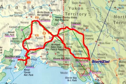 Unsere Reiseroute - 3.500 km durch die Wildnis Alaskas und des Yukons