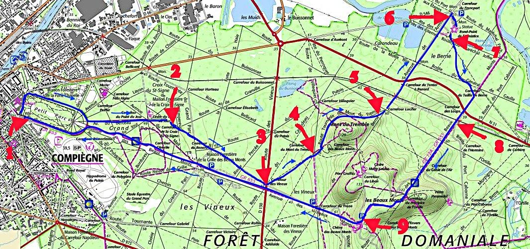 Carte de la randonnée en forêt de Compiègne