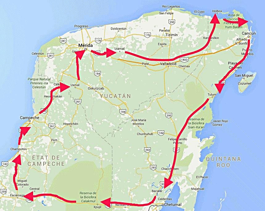 Plan circuit touristique péninsule du Yucatan