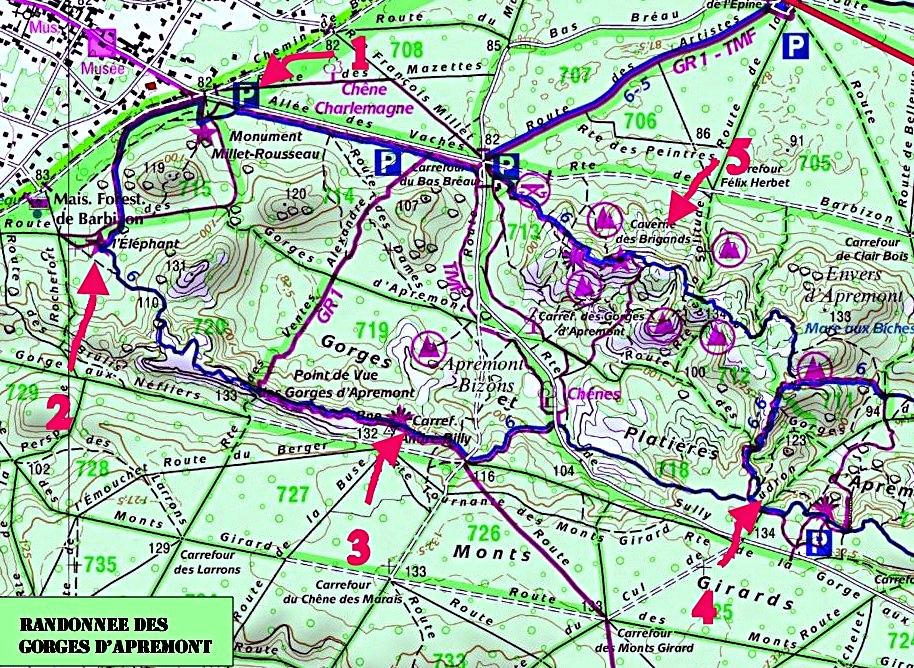 Carte de la randonnée de Gorges d'Apremont