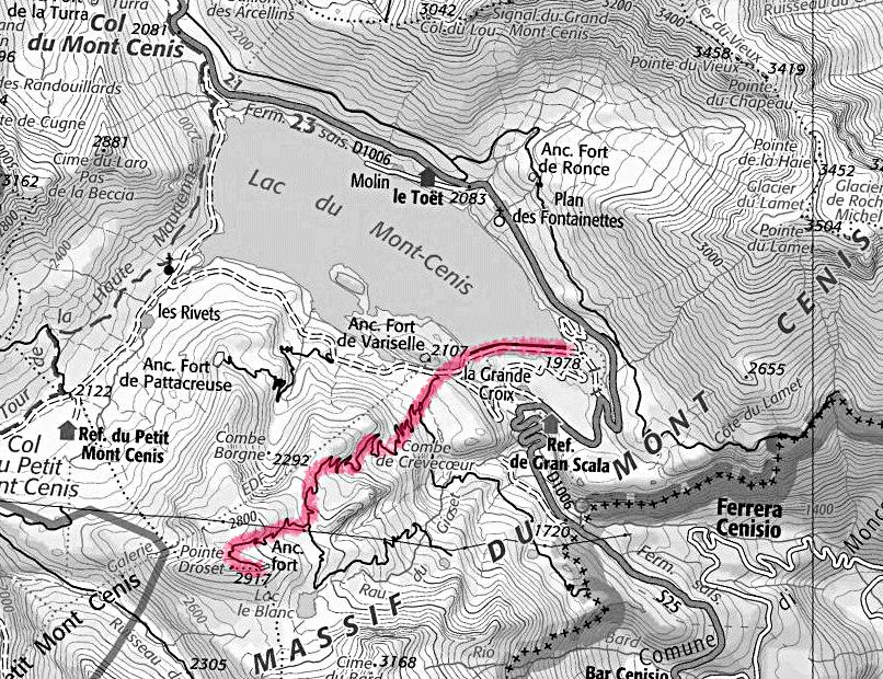 Carte de la randonnée de Fort Malamot