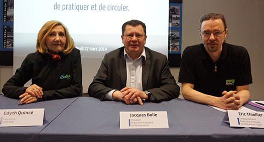 Edyth Quincé (Codever), Jacques Bolle (FFM), Eric Thiollier (FFMC) le 27 mars 2014