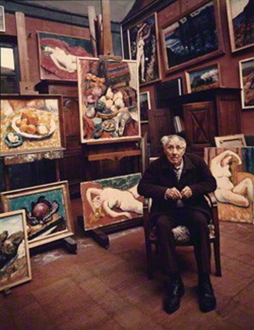 RENE SEYSSAUD (1867 - 1952) DANS SON ATELIER. PHOTO DE NORMAN PARKINSON 1950