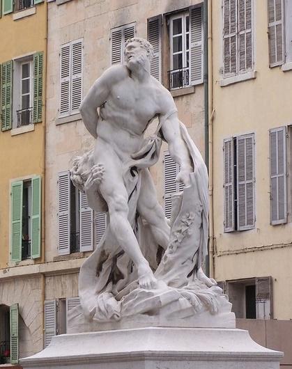 COURS D'ESTIENNE D'ORVES. STATUE DE MILON DE CROTONE, (disciple de Pythagore,ath olympique en 154 av. J.C). Réplique de la statue du  LOUVRE par Pierre PUGET 1620-1694