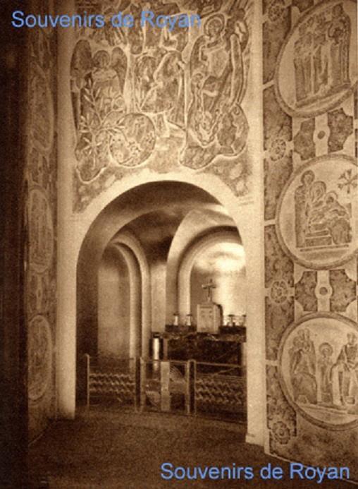 """CHAPELLE DE L'ATLANTIQUE ("""" Souvenirs de Royan"""" vol.1 page 47. COLLECTION François RICHET), DECOREE  PAR ALFRED LOMBARD 1931"""
