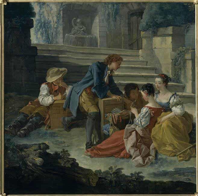 LE PETIT COLPORTEUR par FRANCOIS BOUCHER (1703 + 1770).