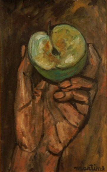 1974. MAIN à LA POMME VERTE. Huile sur toile....... Adam croquant la Pomme ? Cosi fan tutte...;