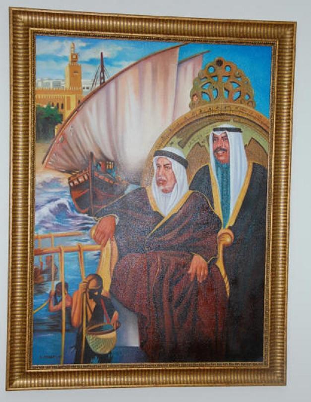 S. A L'EMIR SAAD et S.A. L''EMIR ABDULLAH, SON PERE. CE TABLEAU SE TROUVE DANS LE BUREAU DE S. E SHEIKHA FADYAH, AU 30è ETAGE DE BAITAK TOWER