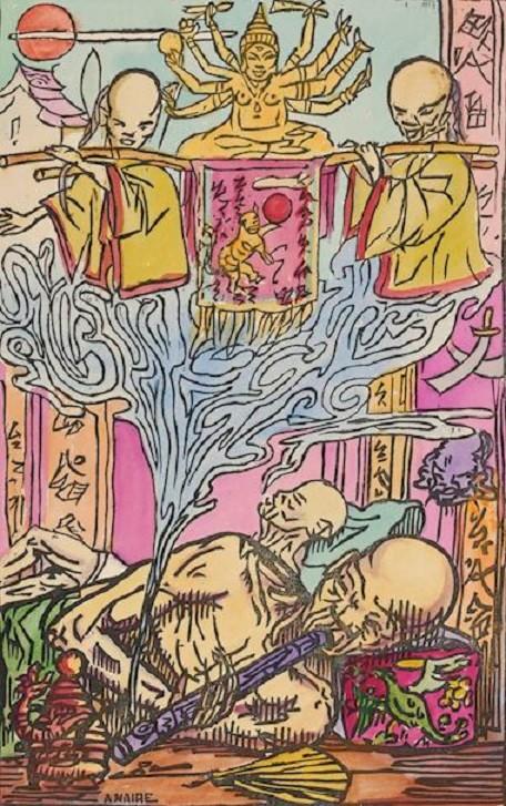 """ALBUM SAIGON 1924. PLANCHE 35. """"LES FUMEURS D'OPIUM"""" (LE RÊVE). BOIS GRAVE ORIGINAL REHAUSSE DE GOUACHE SUR PAPIER. DON DU DR. LOREDANA, ROUBAIX LA PISCINE."""