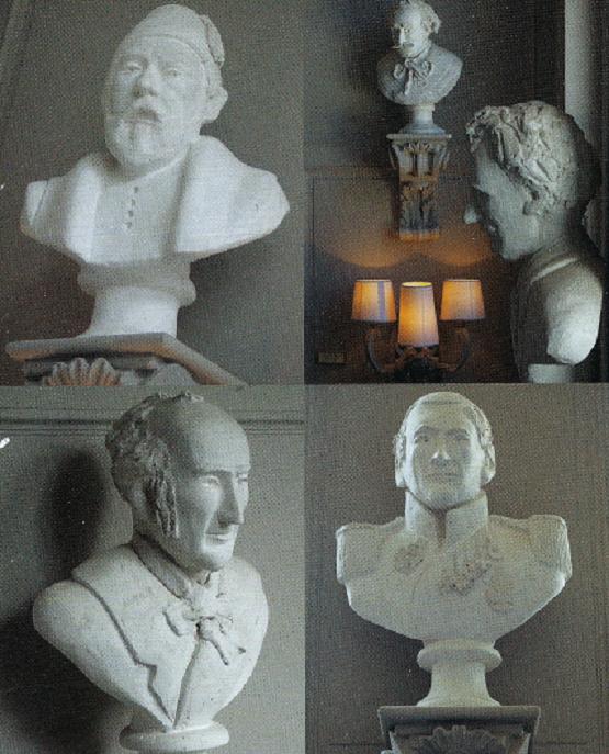 haut g. Mariette PACHA Egyptologue --haut dte. Alphonse LEROY qui a dessiné le décor --bas g.  Charles BENVIGNAT Architecte. --bas dte. Jean-Baptiste WICAR peintre. CES BUSTES ACCUEILLENT TOUJOURS LES VISITEURS CHEZ MEERT.   C*  Jean-Fançois MALLET