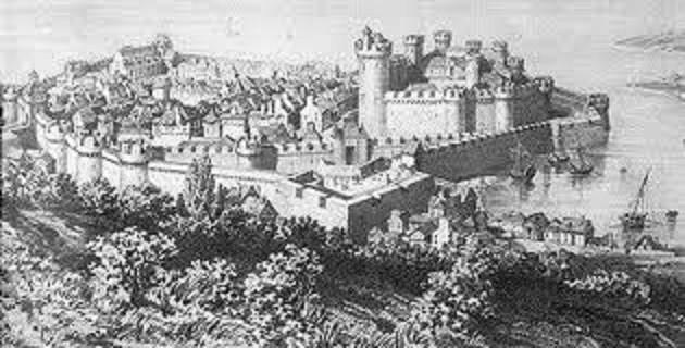 Gravure.   Cherbourg au 17e siècle.