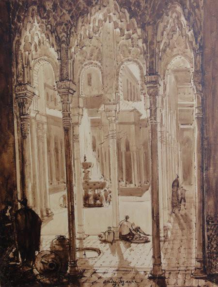 "1928. ESPAGNE. "" L'ALHAMBRA DE GRENADE"", GRAND LAVIS à LA SEPIA   74 x 58cm"