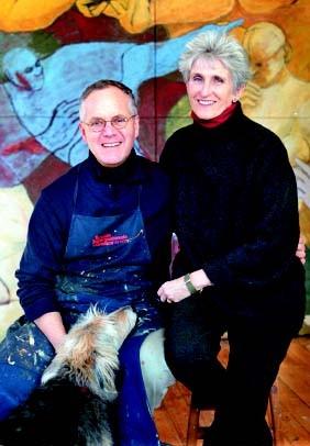 Jon GREGG et Louise  VON WEISE le couple fondateur de VERMONT STUDIO CENTER .A droite la ville de JOHNSON