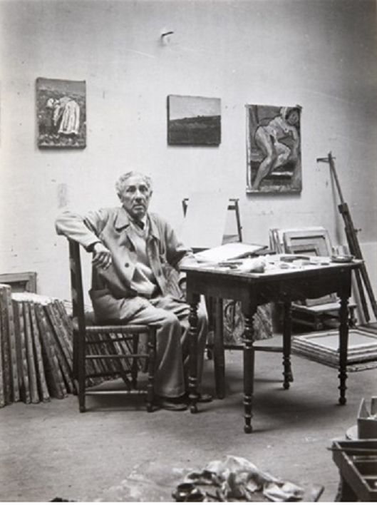 RENE SEYSSAUD (1867 + 1952) DANS SON ATELIER vers 1950 . Photo MARCEL COEN