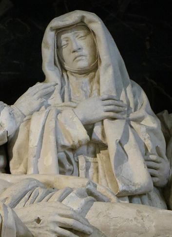 COUVENT DE L' ANNONCIADE. LA MISE AU TOMBEAU : LA SAINTE VIERGE. ATTRIBUE AU MAITRE DE BIRON  XVè. siècle