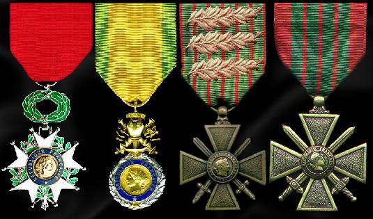 Chevalier de la Légion d''honneur 01/1936, Médaille Militaire 09/09/1918, .......... Croix de guerre 1914-18, 3 Palmes et 2 étoiles de bronze, Croix de guerre 1939-45