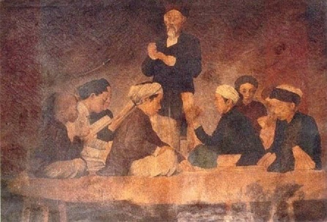 """MUSEE DES BEAUX-ARTS DE HANOI. """" LA LEçON"""" circa 1900 de LË VAN MIÊN ANCIEN ETUDIANT AUX BEAUX-ARTS DE PARIS."""