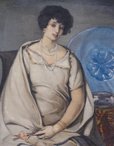 1925. PORTRAIT D' IRENE BERNARD-MAIRE ATTENDANT LOREDANA.
