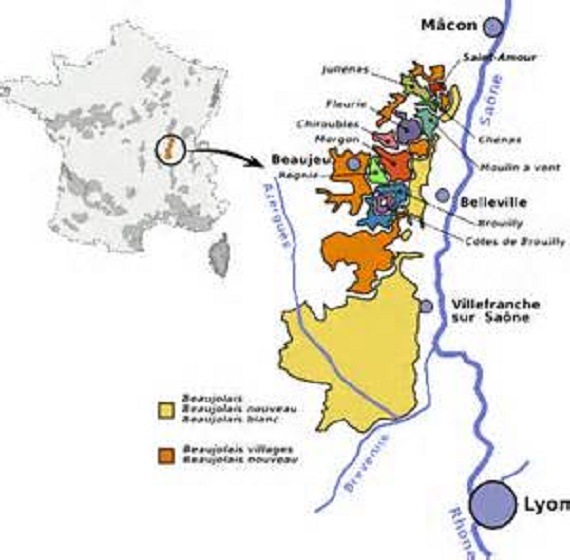 Carte des appellations du beaujolais.