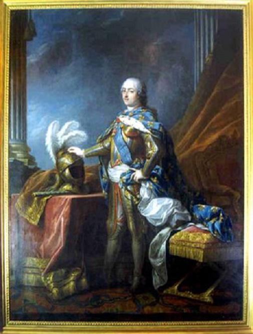 LOUIS XV EN ARMURE (1710 +1774) ARRIERE-PETIT-FILS de LOUIS XIV. Atelier de CARLE VAN LOO.