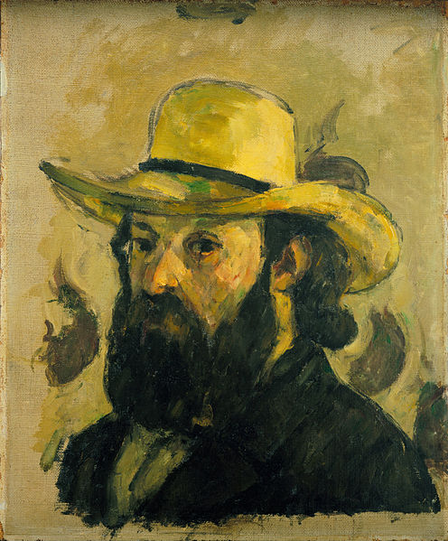 "Paul CEZANNE .  Autoportrait ""STRAW HAT"" (1875/76). Coll. Bill PALEY (MOMA)"