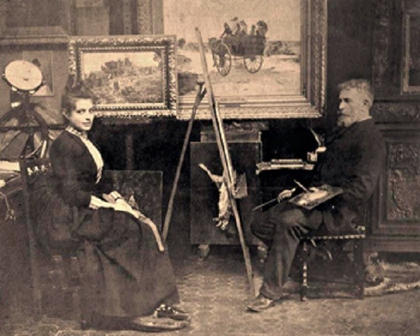 1904/1905. ASSISTANT DANS L'ATELIER D'ALPHONSE MOUTTE, DIRECTEUR DE L'ECOLE DES BEAUX-ARTS............. Photo : ALPHONSE.MOUTTE AVEC SA FILLE MARIE-THERESE