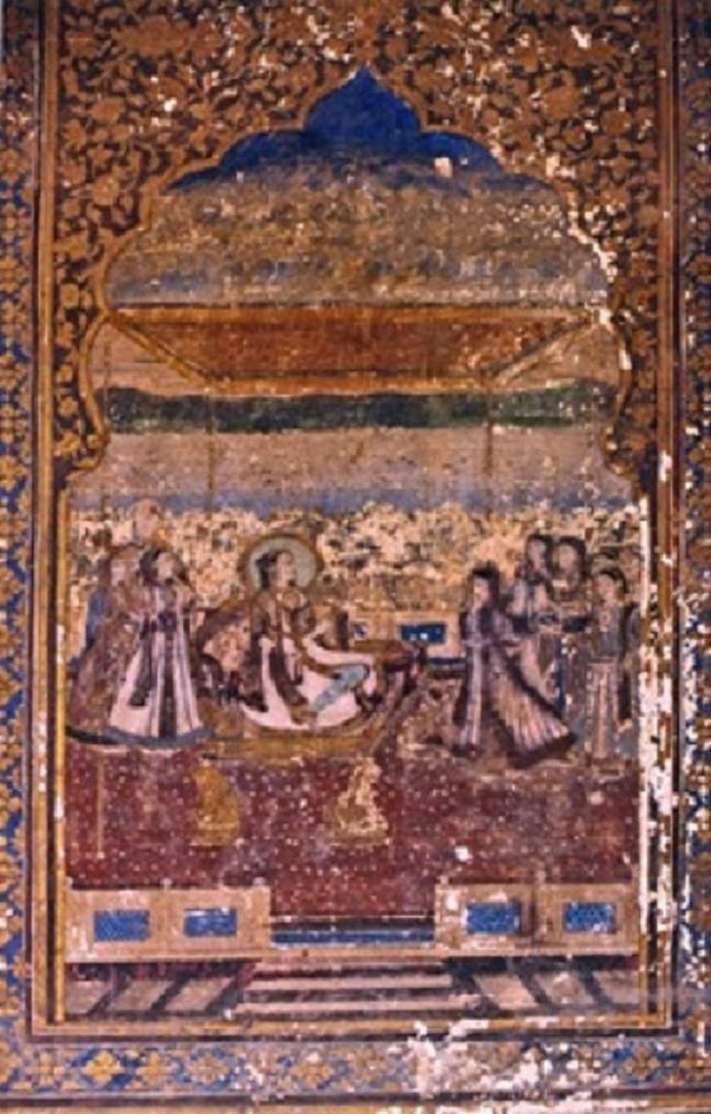 REINE EN AUDIENCE PUBLIQUE. Qila Andrun, Shish Mahal des reines. 2è étage (peinture murale n°30)