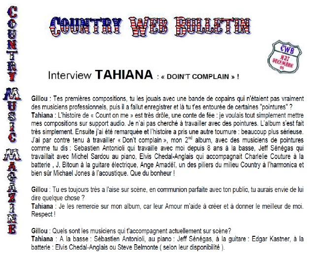 Extrait de l'interview de Tahiana - Country Music Magazine - 2007