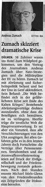 Vortrag Andres Zumach in Dülmen