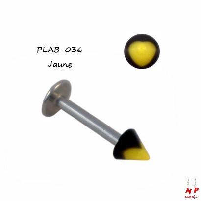 Piercing labret Spike acrylique coeur jaune et noir